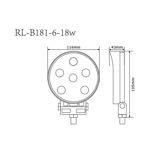 Foco Faena Led industrial maquinaria minera RL-B181-6-18W 5