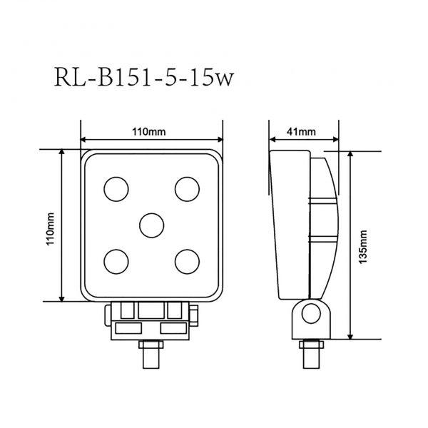 foco faena led maquinaria minera industrial forestal agricola trabajoRL-B151-5-15W-4