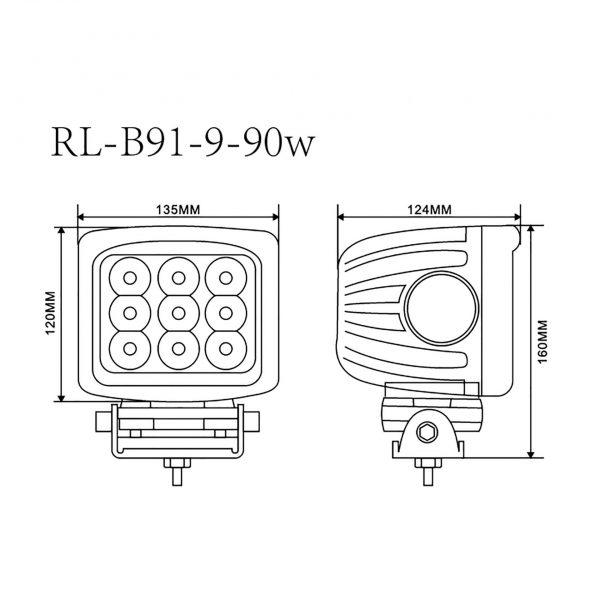 foco led busca camino high-power rl-b91-9-90w 3